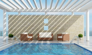 Swimming Pool Shade Ideas beach style patio Luxury Pool Partially Shaded By A Pergola